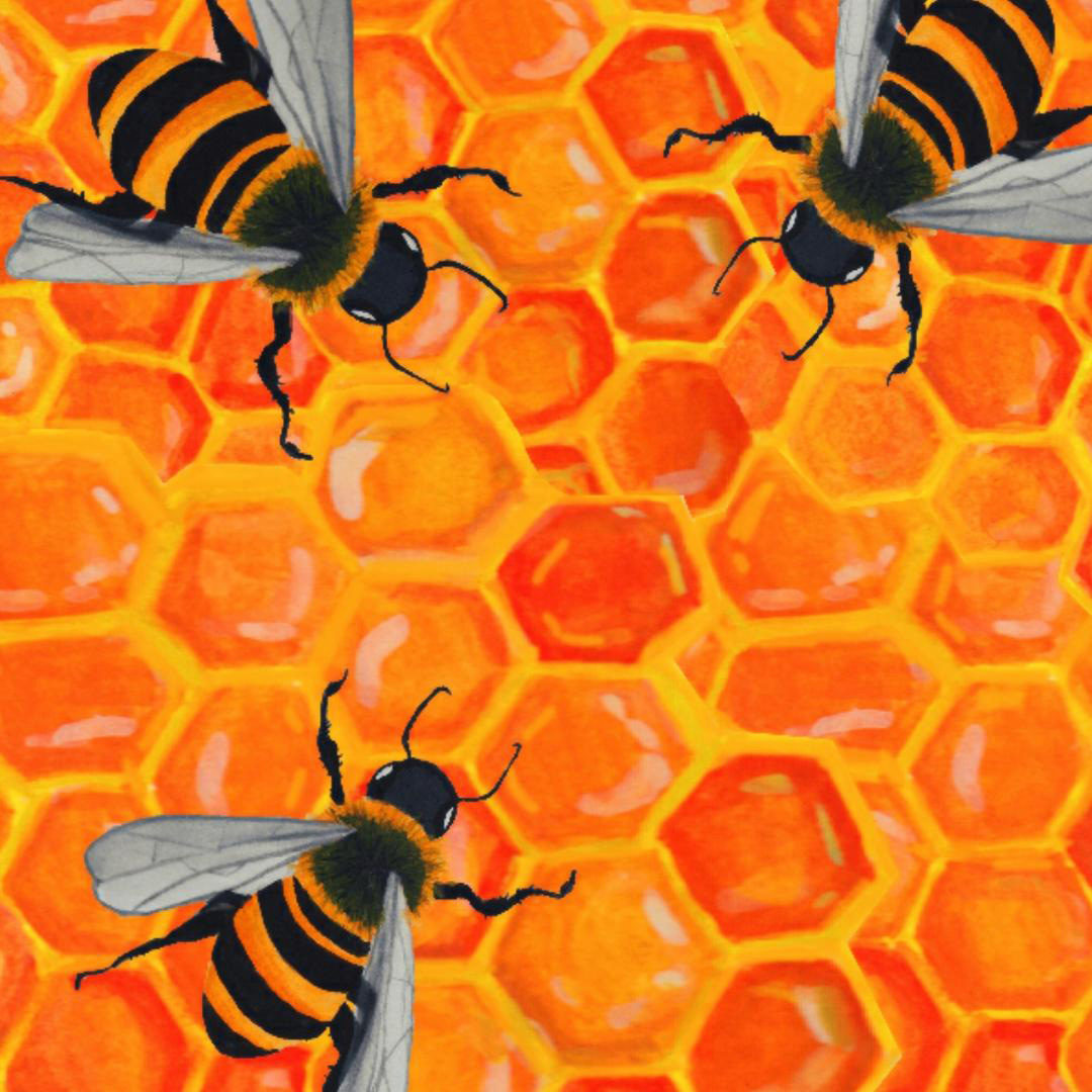An illustration of bees on a honeycomb structure